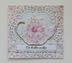 Card tea pot teapot MFT Tea Party Die-namics #mftstamps Doily, Maja Design paper #majadesign -  kort te tekande De bedste ønsker - JKE