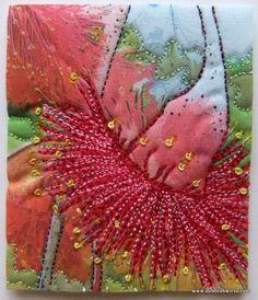 Eucalyptus caesia 'Silver Princess' - a wonderfully pretty small gum tree! Micro quilt 6x9cm, digital printing, stitch