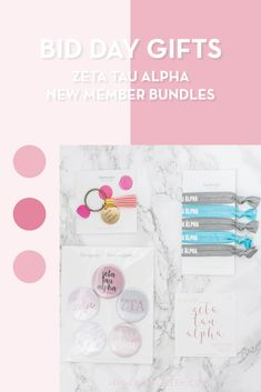 Create the perfect Bid Day gift pack for your Zeta Tau Alpha new members! Choose from three gift bag options: Newbie Love, Pref Present or Spoiled. Zeta Tau Alpha Gifts | Zeta Tau Alpha Bid Day | ZTA New Member Gifts | Zeta Rush Gift Bags | Zeta Tau Alpha Recruitment | Sorority Bid Day | Sorority Recruitment | Bid Day Bags | Sorority New Member Gift Ideas #BidDayGifts #SororityRecruitment