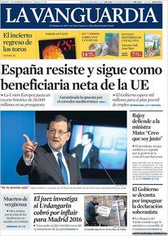 Los Titulares y Portadas de Noticias Destacadas Españolas del 9 de Febrero de 2013 del Diario La Vanguardia ¿Que le parecio esta Portada de este Diario Español?