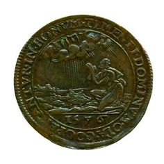Dutch coin in 1576 depicts Gideon's fleece test. Tetragrammaton in the clouds