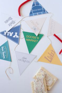INSTANT DOWNLOAD  Easily dress up your Gilmore Girls viewing party with this cute Gilmore Girls themed flagged bunting. Each flag features a favorite business or part of Stars Hollow and Rorys life. YOU WILL RECEIVE  3 pages with 3 flags per page (9 flags total). Pages are formatted for 8.5x11 paper, after flags are cut out they are approximately 5x5. INSTRUCTIONS  Print pages at home with high quality ink on card stock, or printed at a print shop. Cut out each flag and fold top flap to the…