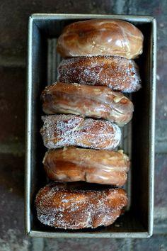 Old fashioned raised maple doughnuts.