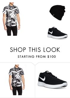 """Sem título #8"" by mariajuliaebeatriz on Polyvore featuring Versace, NIKE and Hurley"