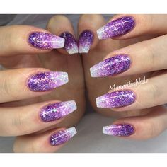 nails.quenalbertini: Purple Glitter Ombre Nails by margaritasnailz | Nail Art Gallery