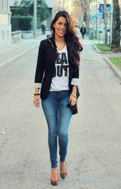 I love jazzing up a tee and jeans with cute shoes and a blazer.