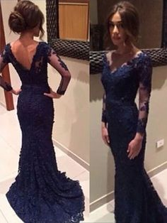 Dark Navy Lace V-neck Trumpet/Mermaid New Long Sleeves Prom Dress in UK
