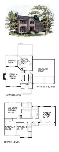 saltbox house plan 60921 total living area 1521 sq ft 4