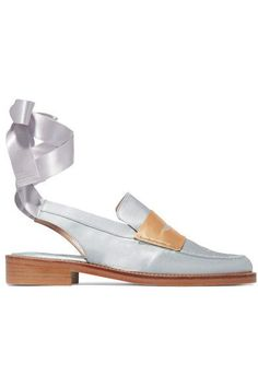 MR by Man Repeller - Two-tone Satin Loafers - Silver - IT37