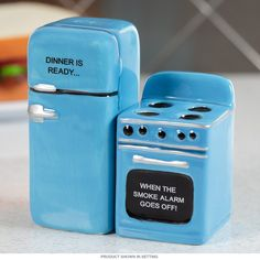 Add a little retro flair and a bit of fun to your kitchen with this set of stove and refrigerator salt and pepper shakers. Ceramic set is also magnetic and measures 4.5W x 3.75H inches.