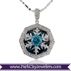 and Homer Simpson's Bowling Ball? Snowflake Jewelry, Blue Zircon, 1 Carat, Types Of Metal, Snowflakes, White Gold, Pendant Necklace, Jewels