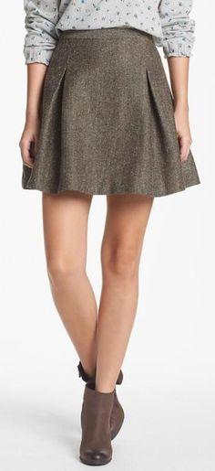 Hinge® Metallic Tweed Skater Skirt available at 0019fe511