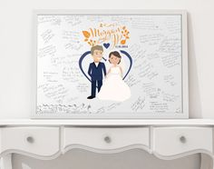 Wedding guest book alternative idea: Custom-designed wedding caricatures to be printed on poster paper or canvas that your guests can sign. We can use wedding outfits or casual outfits to create this custom keepsake! From TheInkedLeaf on Etsy.