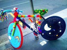 Rainbow Brite's YARN-BOMBED bike!