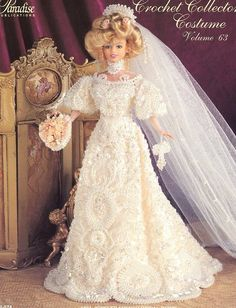 1901 Jeweled French Bridal Gown for Barbie Doll Paradise #63 Crochet PATTERN #ParadisePublications #DollOutfit