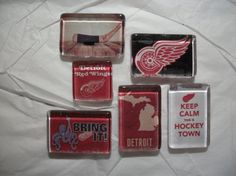 6 Detroit Red Wings Magnets NHL Hockey Magnets by BadCatCraft