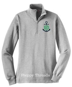 Anchor Monogrammed Sweatshirt Quarter Zip by PreppyThreads on Etsy, $38.00