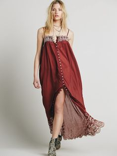 0b40b9b632b Sheer cotton maxi slip with mother of pearl button placket and scalloped  trims with contrast embroidery