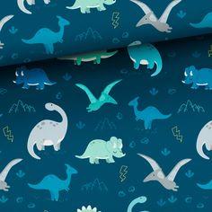 Tkanina bawełniana Dinozaury navy