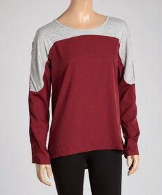 This Burgundy & Gray Contrast Sweater is perfect! #zulilyfinds
