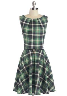 Luck Be a Lady Dress in Green Plaid by Closet - Work, Green, Plaid, 90s, Fit & Flare, Sleeveless, Fall, Knit, Black, Belted, Exclusives, Print, Pockets, Best Seller, Variation, Mid-length, Top Rated