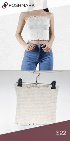 473d7837860 Brandy Melville pale yellow thick Cleo tube top No flaws Brandy Melville  Tops Crop Tops Brandy