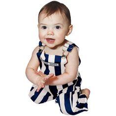 Infant Game Bib Overalls - Navy Blue/White