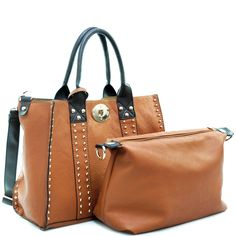Designer INspired 3-in-1 Luxury Tote Handbag w/ Coin & Cosmetic Bags - Brown  $53.99 + Free Shipping  wantedwardrobe.com  wantedwardrobe.net  #handbags #fashion