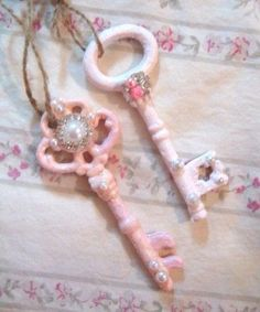 """Set of 2 Shabby Chic Keys 1 Pink 1 Pale Pink Vintage 4 """"Ornate Beaded Roses .- Set 2 Shabby Chic Keys 1 Pink 1 Pale Pink Vintage 4 """"Ornate Beaded Roses Rhinestones Home Decor Chic Ornaments French Farmhouse Nursery by VintageChicPleasures on Etsy – Shabby Chic Style, Rosa Shabby Chic, Cottage Shabby Chic, Shabby Chic Mode, Estilo Shabby Chic, Shabby Chic Crafts, Shabby Chic Bedrooms, Shabby Chic Furniture, French Cottage"""