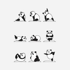 Panda Yoga Cute Sticker by Huebucket - White Background - Panda Illustration, Animal Yoga, Panda Love, Yoga Art, Totoro, How To Do Yoga, Cute Drawings, Cute Wallpapers, Cute Animals