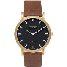 TOPSHOP **Shore Projects St Ives Black Dial Light Brown Strap Watch (2.636.165 IDR) ❤ liked on Polyvore