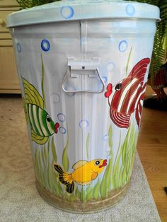20 Gallon Hand Painted Trash Can Hand Painted Cans