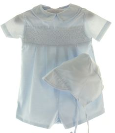 245fbc006890 Boys Smocked Blue Romper Outfit - Petit Ami
