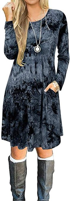 Aliling Casual Dresses for Women Long Sleeve Round Neck Button Down Loose Swing Tunic Tops Dress