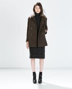 Zara Wool Coat With Detachable Fur Collar in Green (Khaki) | Lyst