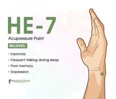 Acupuncture HE 7 (Insomnia, Talking during sleep / Sleep talking, Poor Memory, Depression) / heart massage management Acupressure Therapy, Acupressure Massage, Acupressure Treatment, Lymph Massage, Alternative Therapies, Alternative Health, Alternative Medicine, Acupuncture Points, Acupressure Points
