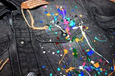 hand painted denim jacket/jacket with painting/spray Painted Denim Jacket, Painted Jeans, Hand Painted, Spring Clothes, Spring Outfits, Diy Fashion, Fashion Ideas, Painted Jackets, Custom Clothes