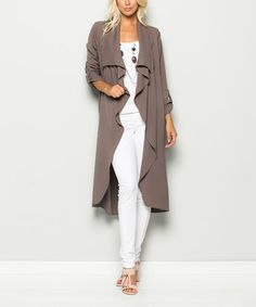 Love this Mocha flowy sweater/trench coat - Cascading lapels add flowy feminine appeal to this lightweight trench coat crafted from a stretch-infused fabric blend for a comfortable fit.'