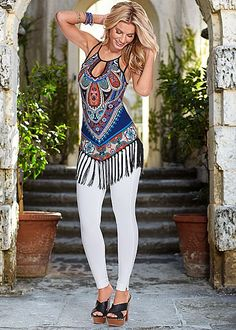 %PC% Print and fringe tank, jeggings from VENUS