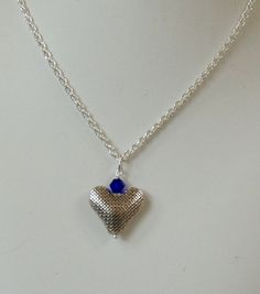 Crystal Birthstone Silver Heart dangling from by rosepetalsjewelry, $19.99
