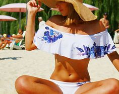 bikini cute bikini off shoulder bikini off the shoulder bikini two piece bikini white floral bikini swimsuits beachwear outdoor swimsuit
