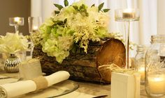 DIY Wedding Centerpiece  love the log centerpiece cut out for flower inserts
