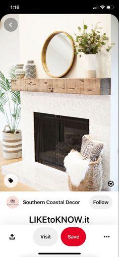 Brick Fireplace Decor, Oversized Mirror, Diy, Furniture, Home Decor, Decoration Home, Bricolage, Room Decor, Do It Yourself