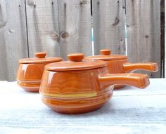 Set of 3 California Pottery Orange and Yellow Soup by TimeWarpVntg, $25.00