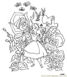 mad tea party alice in wonderland disney coloring pages color