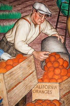 California Oranges, Plate 2, for more, please visit: http://www.painting-in-oil.com/artworks-Rivera-Diego.html