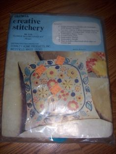 Flower Pillow Cover Crewel Embroidery Kit Creative Stitchery No 3775