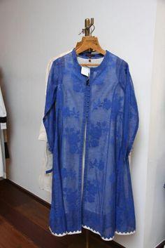 Blue laced kurta