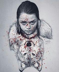 Nymeria & Arya Stark fanart -Game of thrones                                                                                                                                                                                 Mais