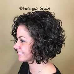 65 Different Versions of Curly Bob Hairstyle - - Short Curly Black Bob Short Curly Cuts, Short Curly Hairstyles For Women, Curly Hair Styles, Haircuts For Curly Hair, Curly Hair Cuts, Natural Hair Styles, Black Hairstyles, Party Hairstyles, Long Curly